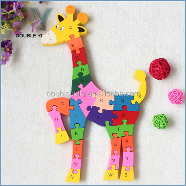 High quality 26 alphabets deer funny 3d puzzle jigsaw wooden puzzle