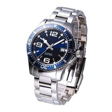 100 meters water resistant navy blue automatic watch with all stainless steel case