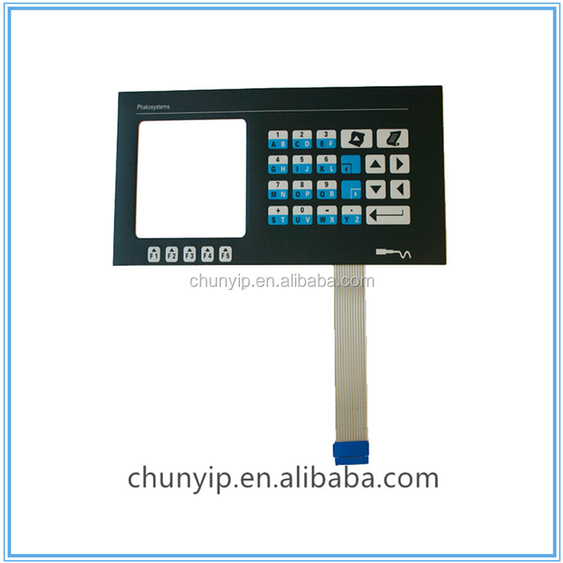 Push button membrane switch keyboard with transparent window
