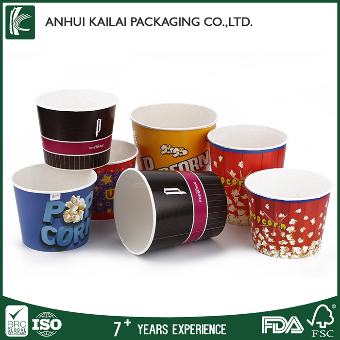 custom printed disposable paper popcorn bucket with lid