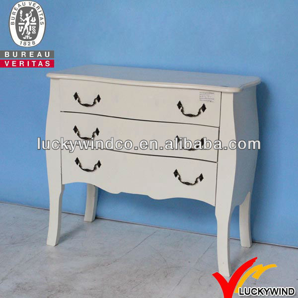 French Vintage White Wooden Side Cabinet Designs for Bedroom
