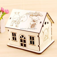 custom Wood doll house wood toy crafts for kids money box crafts