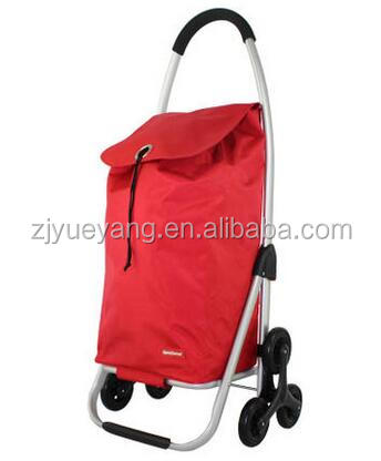 6 wheels steel frame foldable shopping bag trolley