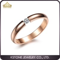 KSTONE 2015 simple design stainless steel jewelry rose gold plated crystal rings