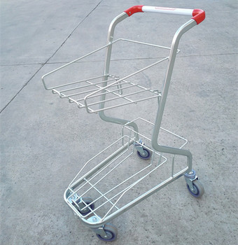 Yirunda factory grocery shopping basket trolley for sale wit 2 tier