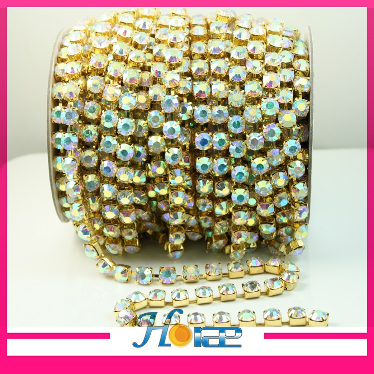 SS29 crystal AB color gold plating bling crystal strass cup chain for dress
