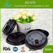 PS Material 2.3g or 3.3g black and white color custom disposable coffee cup lid