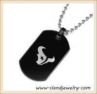 China supplier high quality high polish free shipping stainless steel black tag wholesale houston texans