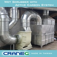Industrial gas disposal solving scrubber and odor removal active carbon filters