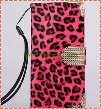 hot sale Leopard pattern Diamond buckle flip Leather case for iphone 6 6s plus