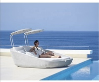 Beach garden pool patio wicker outdoor lounge chairs with canopy