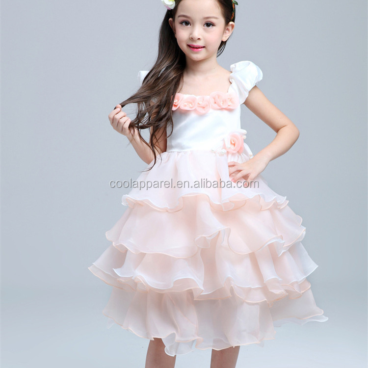 New product little princess tiered pink flowers girls dress picture