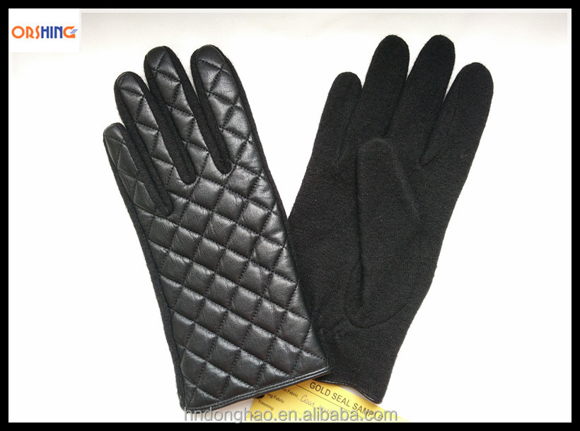 Ladies Winter Wool Knit Hands Gloves with Leather Shell