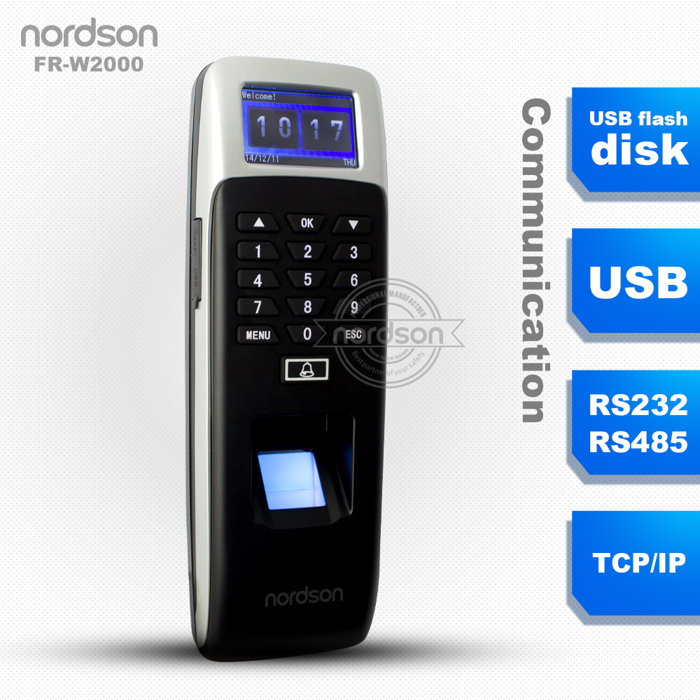Nordson top sell waterproof outdoor biometric time attendance system with fingerprint verification ( FR-W2000)