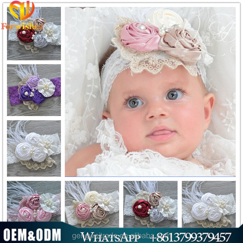 wholesale beautiful girls hair accessory fashion feather flower baby kids headband for 0-3years