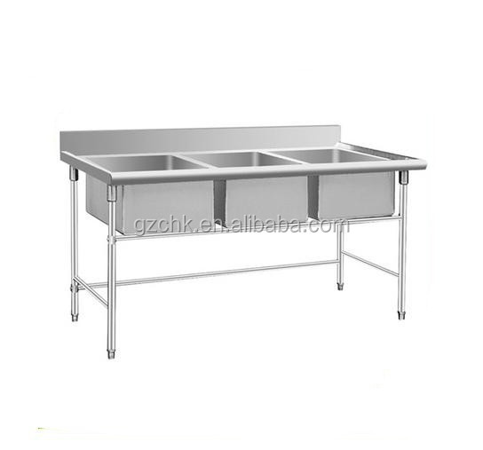 Stainless steel kitchen triple sink for restaurant kitchen use /vegetable washing sink