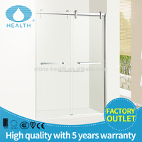 Safety tempered glass 2 double sliding shower doors with strong track JP823