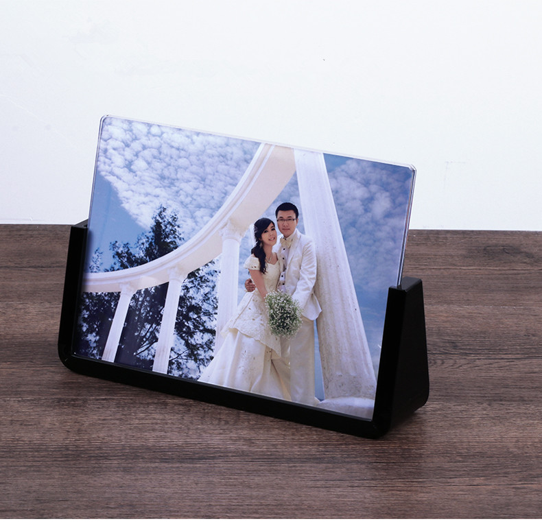 U shape custom acrylic wedding photo frame beautiful clear black white picture frame