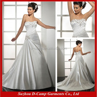 WD-1177 Fascinating asymmetrical pleated lines off the shoulder satin wedding dresses wholesale