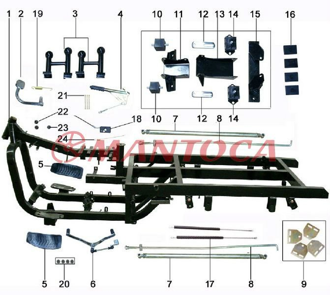 Tricycle parts: Chassis and accessories