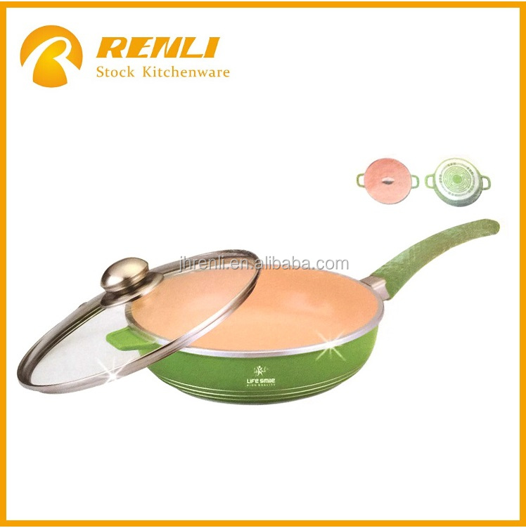 overstock ,stock lot 26cm Deep Frying Pan with Glass Lid/ceramic pot/induction cooking