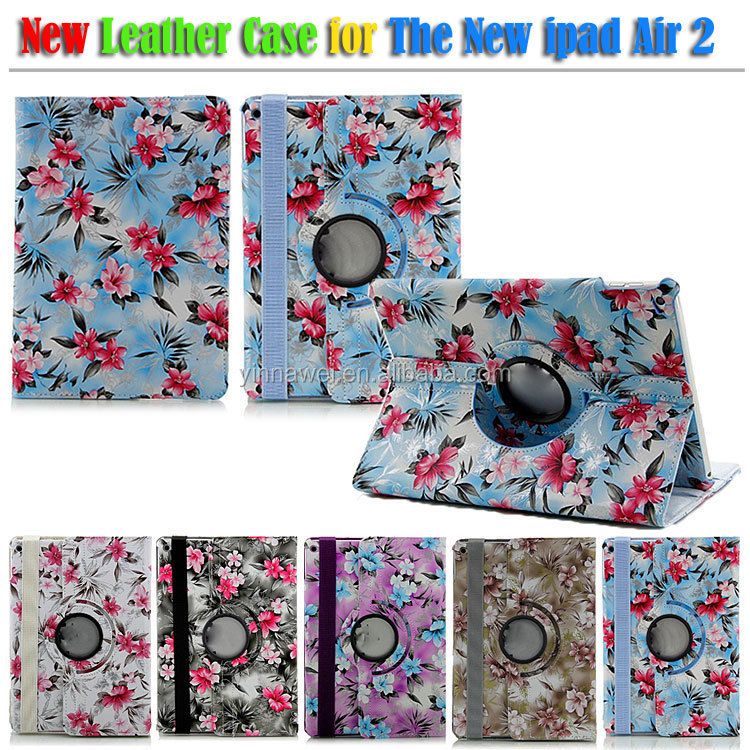 High Quality beautiful flower leather case for The New ipad air 2 leather case