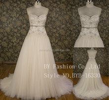 Ball gown princess Sweep Train sweetheart Wedding Dress With applique lace in champagne color