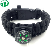Manufacture wholesale Multifunction whistle buckle with fire starter & compass 550 LBS survival paracord bracelet