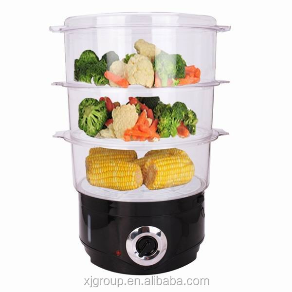 XJ-12818A 3 layer steamer cooker 10L capacity ,external water filter ,bpa free electric steamer