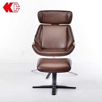 Simple Tilt PU Leather modern leather chair leisure chair with base steel leg