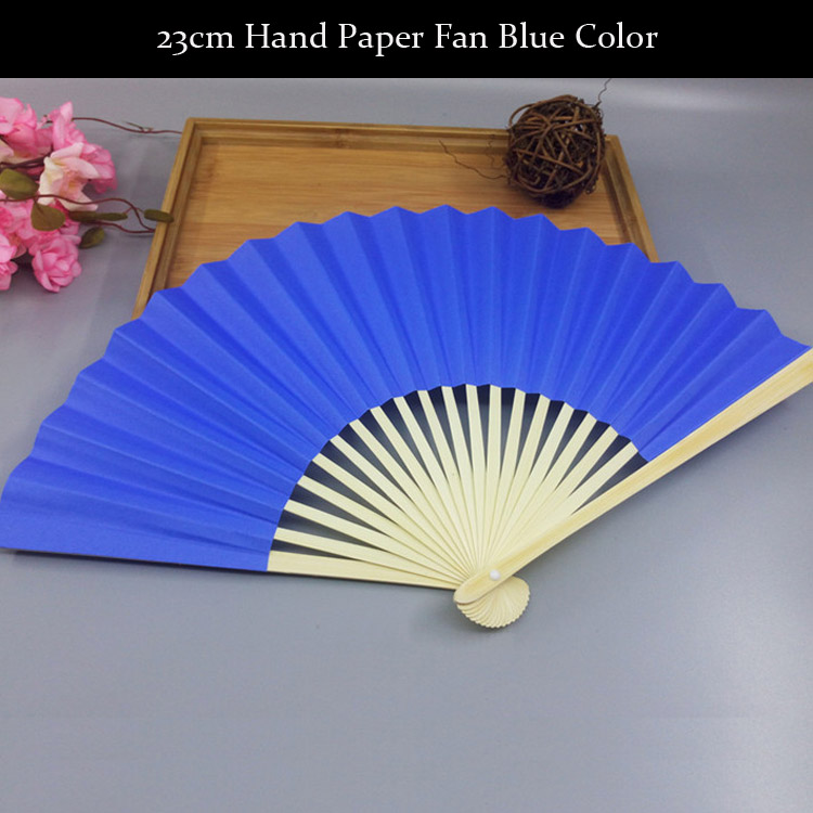 Handmade Lolita Style 23cm Plain Colors Multicolour Chinese Craft Hand Paper Fan Wedding Fan Party Gifts Baby Shower Favors Fan