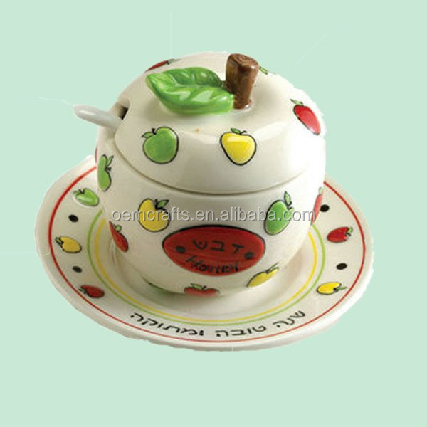 new popular Ceramic Apple Honey Dish Set with Plate and Spoon