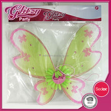 FW-1080 2015 New design Light Green Fairy princess wing with gilitter pink matte & sunflower well selling for kids for girls