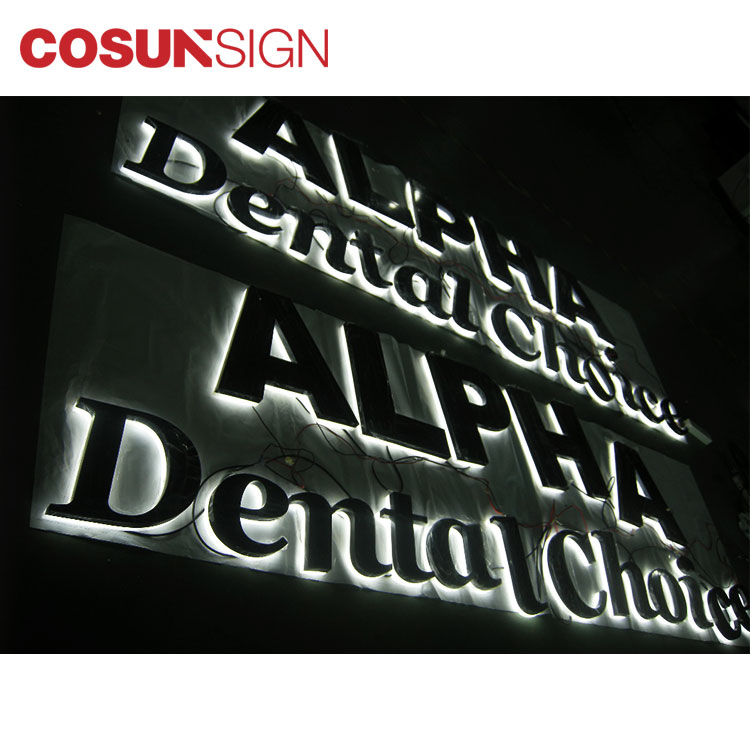 Backlit Halolit Reverse Polished Stainless Steel LED Channel Letters Sign