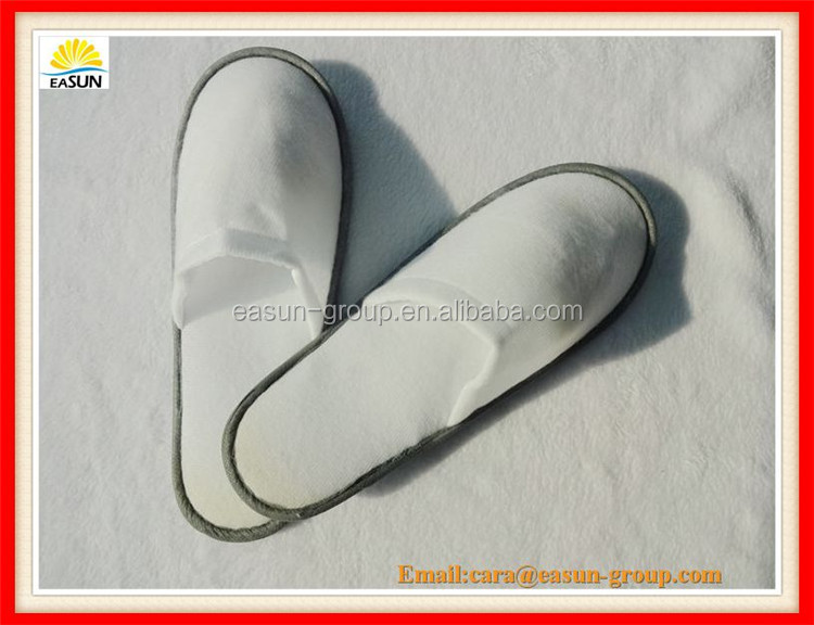 simple grey color polar fleece airline slippers with sponge heels