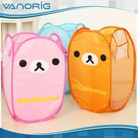 Good Quality Printed Foldable cute animal face laundry basket