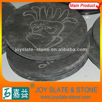 Round Black Natural Slate Cup/Coffee Mat/Plate Carving Picture