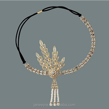Art Deco 1920's Flapper Great Gatsby Inspired Leaf Medallion Hair Headpiece Crystal Headband