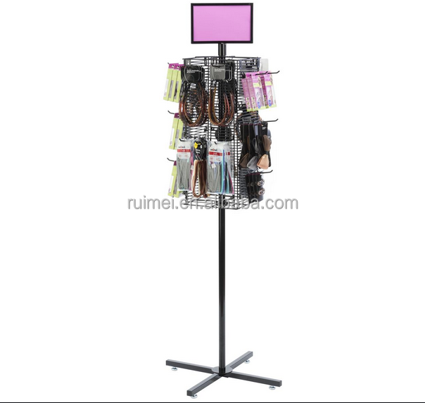 Customized Metal Wire Cell Phone Accessory Revolving Display Rack