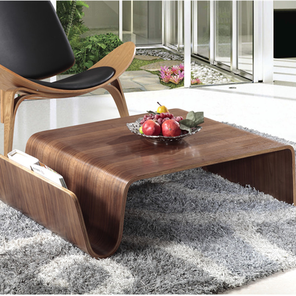 Modern design shell chair with plywood coffee table, walnut wood table for home and office