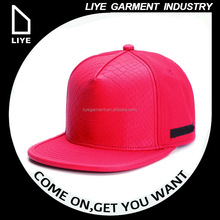 supreme quality red snake leather blank embroidery back custom snapback cap