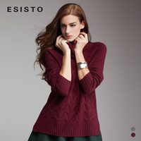 ESISTO autumn and winter hedging thick cashmere high-necked cashmere sweater women loose piles collar and long sections twist 95