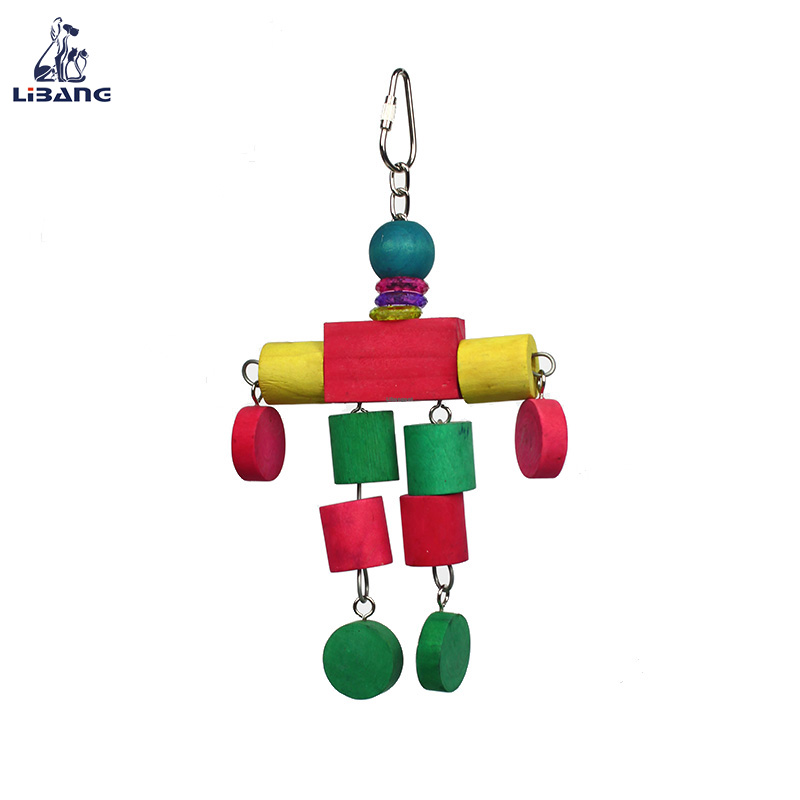 Fancy Design Robot Shaped Hanging Balancing Wooden Colorful Bird Toys