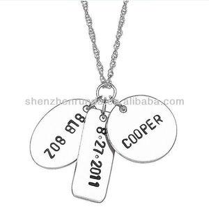 wholesale fashion jewelry 2016 silver pendant stainless steel blank name tag necklace