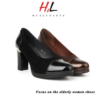 2016 latest design nubuck leather shoes leather lining and leather sock thick heels lace women pumps