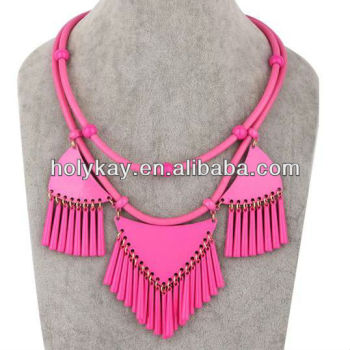 2014 fashion novel products to sell, fancy fringe ethnic cord necklaces for women