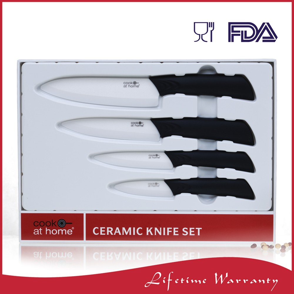 White sharp ceramic chef knife with ceramic blade set