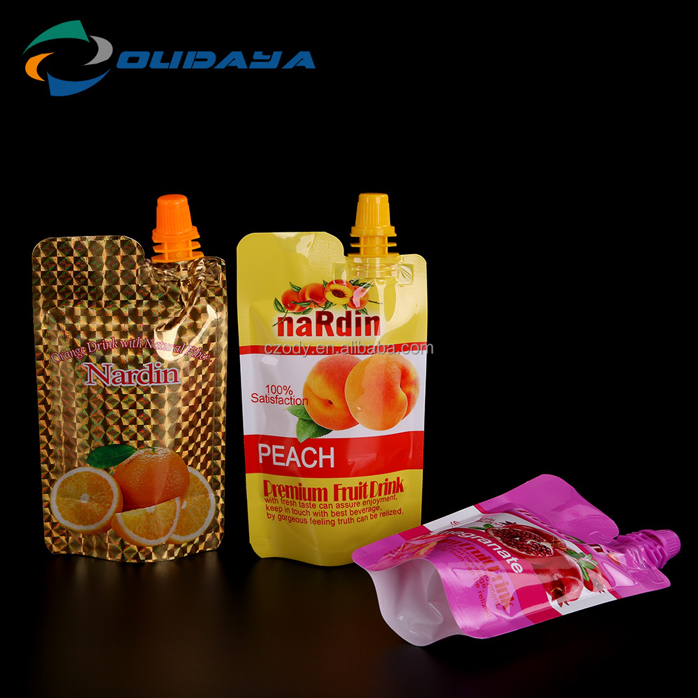 Hot sale colorful fruit juice 120ml doypack with corner spout and cap