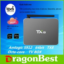 iptv set top box TX8 Smart wifi Android Tv Box amlogic S912 newest KDplay 17.0 octa-core 2gb+16gb Android 6.0 in Stock Now Cheap