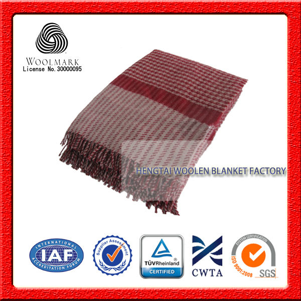NO.1 China blanket factory 100% New Zealand wool blanket, plaid wool throw